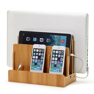 Eco-Friendly Bamboo Multi-Device Charging Station