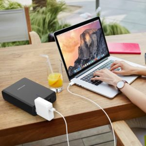 DBPOWER 26400mAh best Laptop portable charger AC Outlet Portable Travel Charger 80W output with two USB Ports Universal Battery Pack for Macbook, Laptops