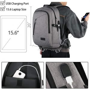 Mancro Business Laptop Backpack with a USB charging port Best for Men, Women, School, Business, Travel.