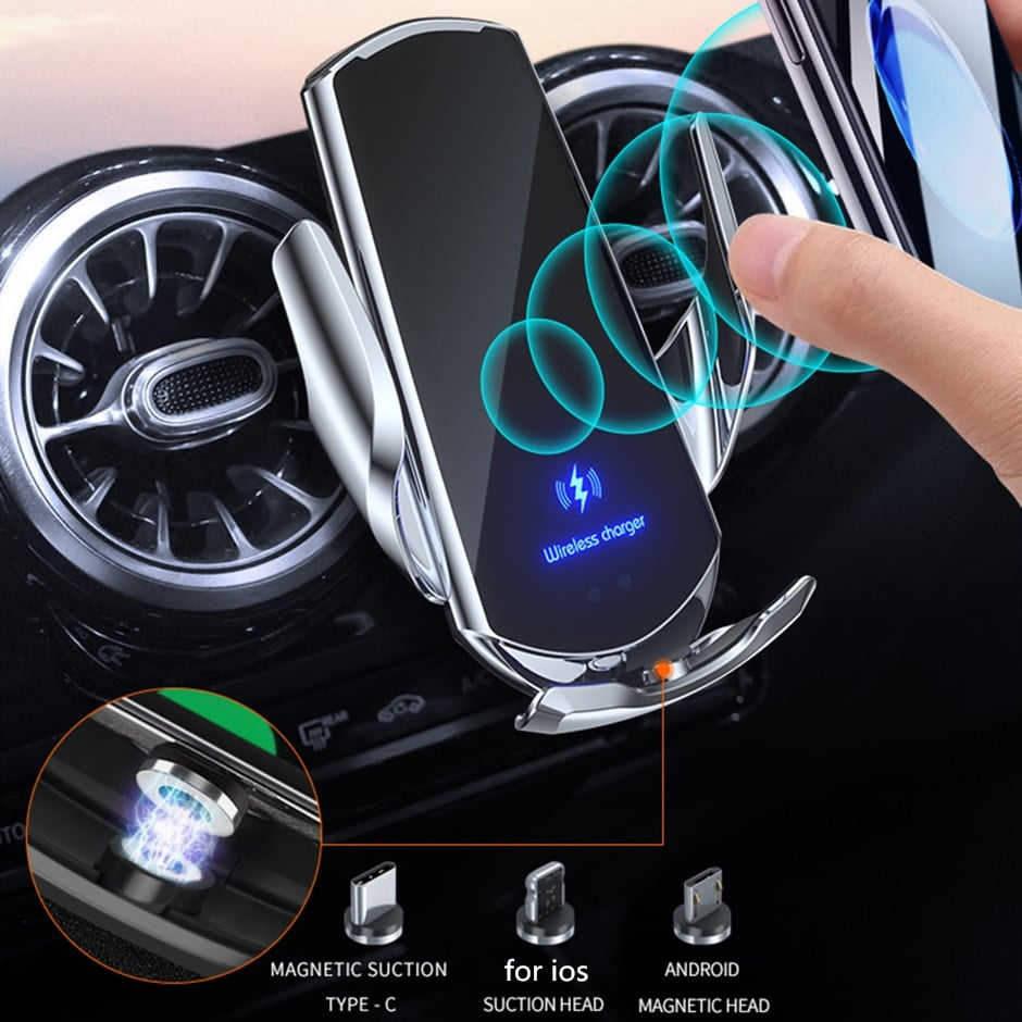 Automatic clamping 15W-Qi Car Wireless Charger-for-iPhone-12-11-XS-XR-X-8-Samsung-S20-3