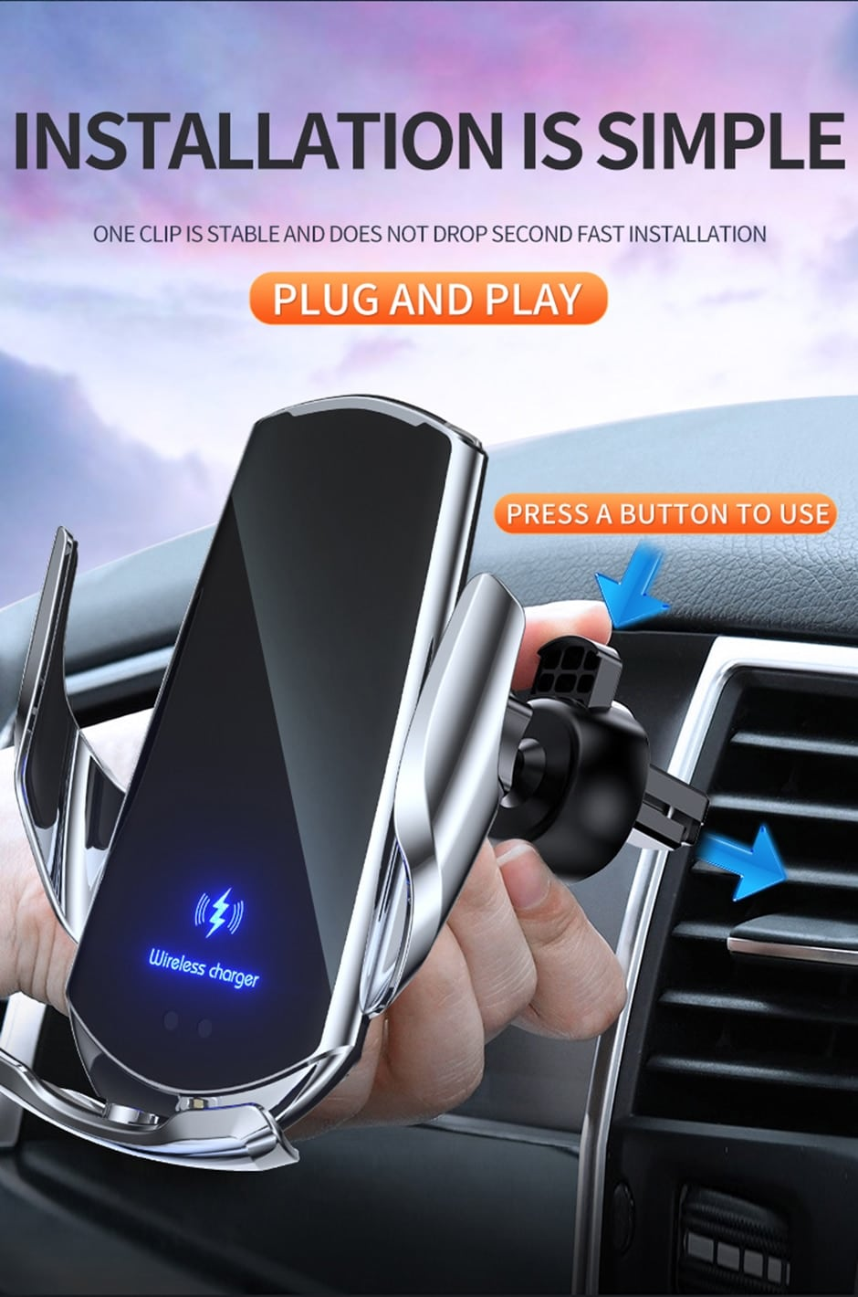 auto clamping wireless car charger for iphones